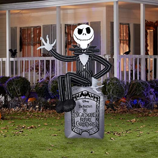 amazoncom 6 jack skellington on grave stone disney nightmare before christmas halloween inflatable garden outdoor - Nightmare Before Christmas Lawn Decorations
