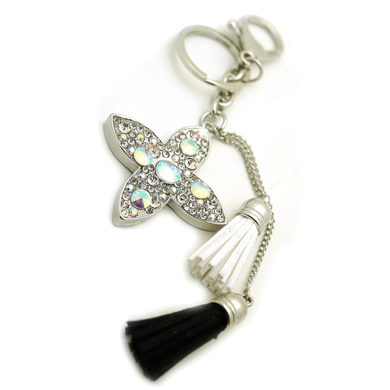 Teri's Boutique Lovely Sparkle Rhinestone Flower Faux Leather Mini Tassle Woman Keychain