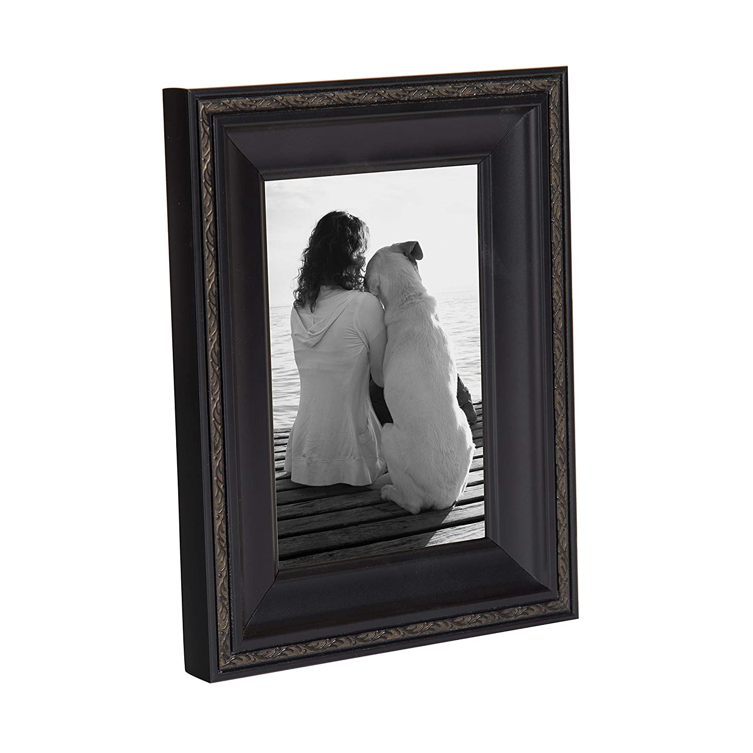 DesignOvation Martinez Wall Hanging or Table Standing Decorative Picture Frame Set, Antique Black 4×6, Pack of 4