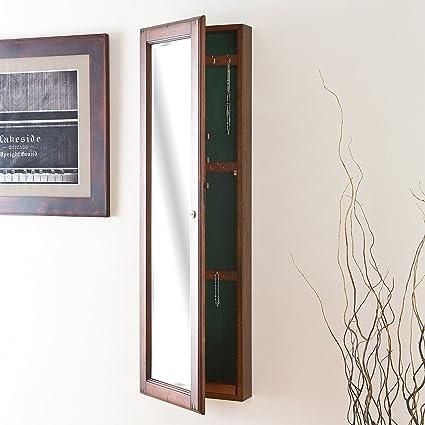 Amazoncom Jewelry Storage Mirror Wall Mount Hideaway Walnut