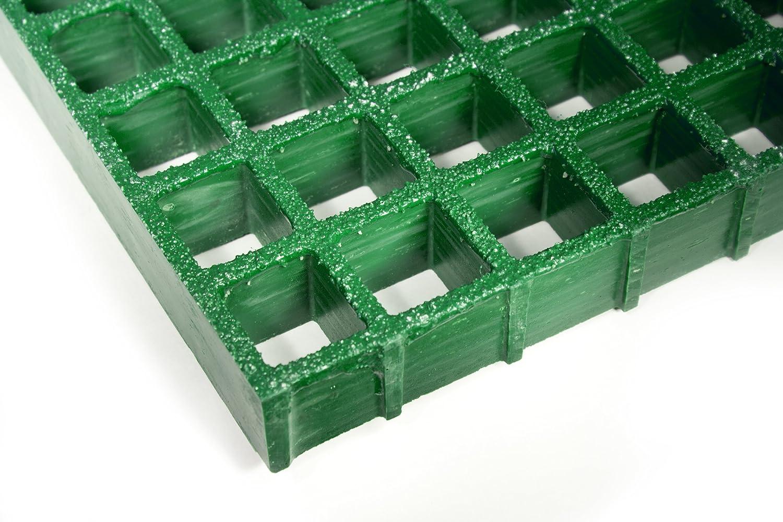 1-1//2/x/1-1//2 Openings 1-1//2 Thickness Standard Tolerance Fiberglass Grating 8 Length Green Grit-Top 4 Width