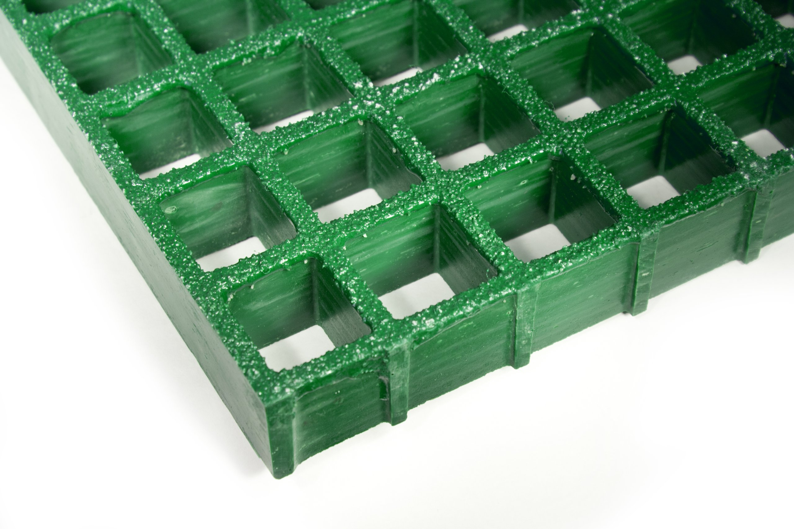 Fiberglass Grating, Standard Tolerance, Green, Grit-Top, 1'' Thickness, 4' Width, 4' Length, 1-1/2'' x 1-1/2'' Openings by Small Parts