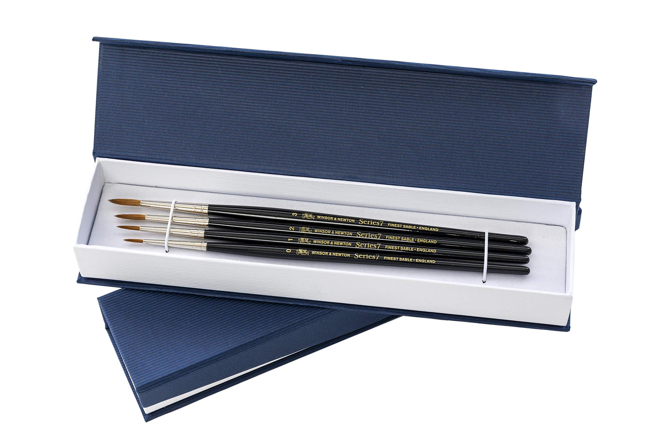 Winsor and Newton Series 7 Brush Gift Set - Small Rounds - Real Kolinsky Sable Hair - 4 Brushes, Sizes 0 1 2 3 - Quality Paint Brush Present for Professional and Amateur Painters