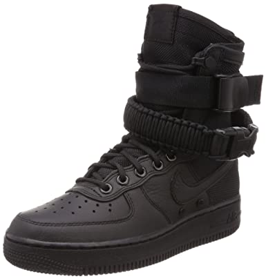 Nike Damen SF Air Force 1 Schwarz Leder Stiefel: