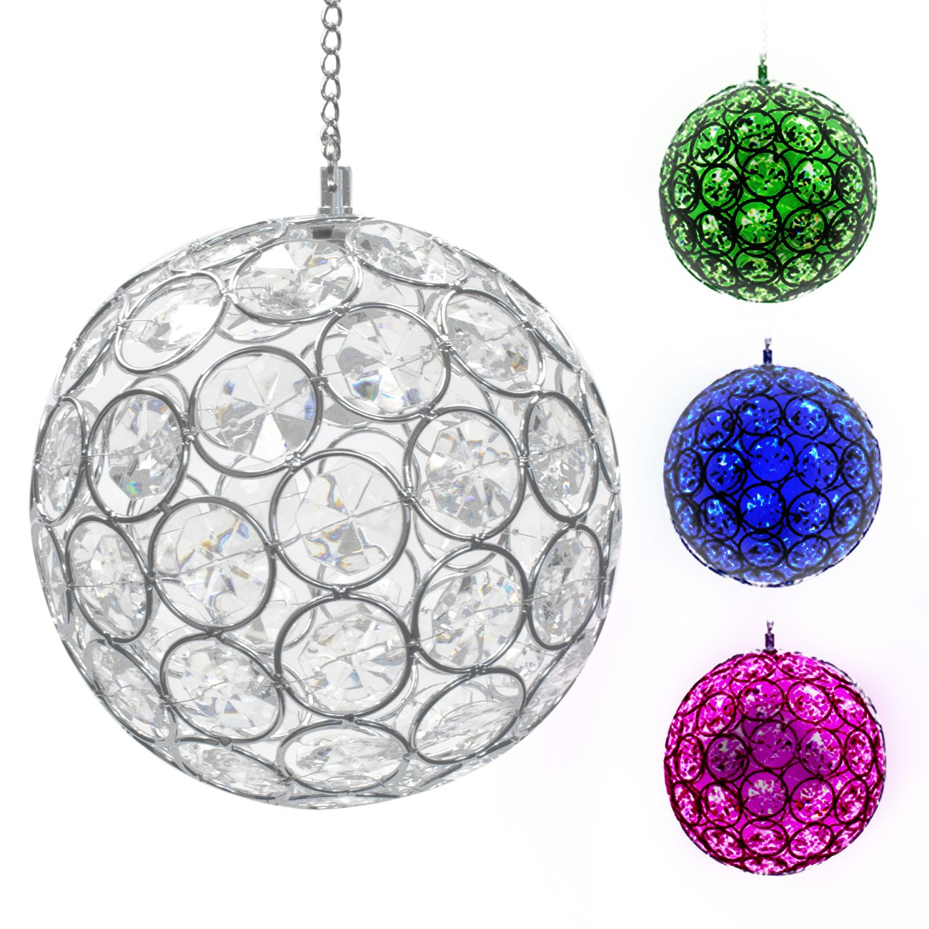 LED Concepts Solar Hanging Crystal Ball Light – Outdoor LED Gazing Ball Light with Sparkling LED Light Colors