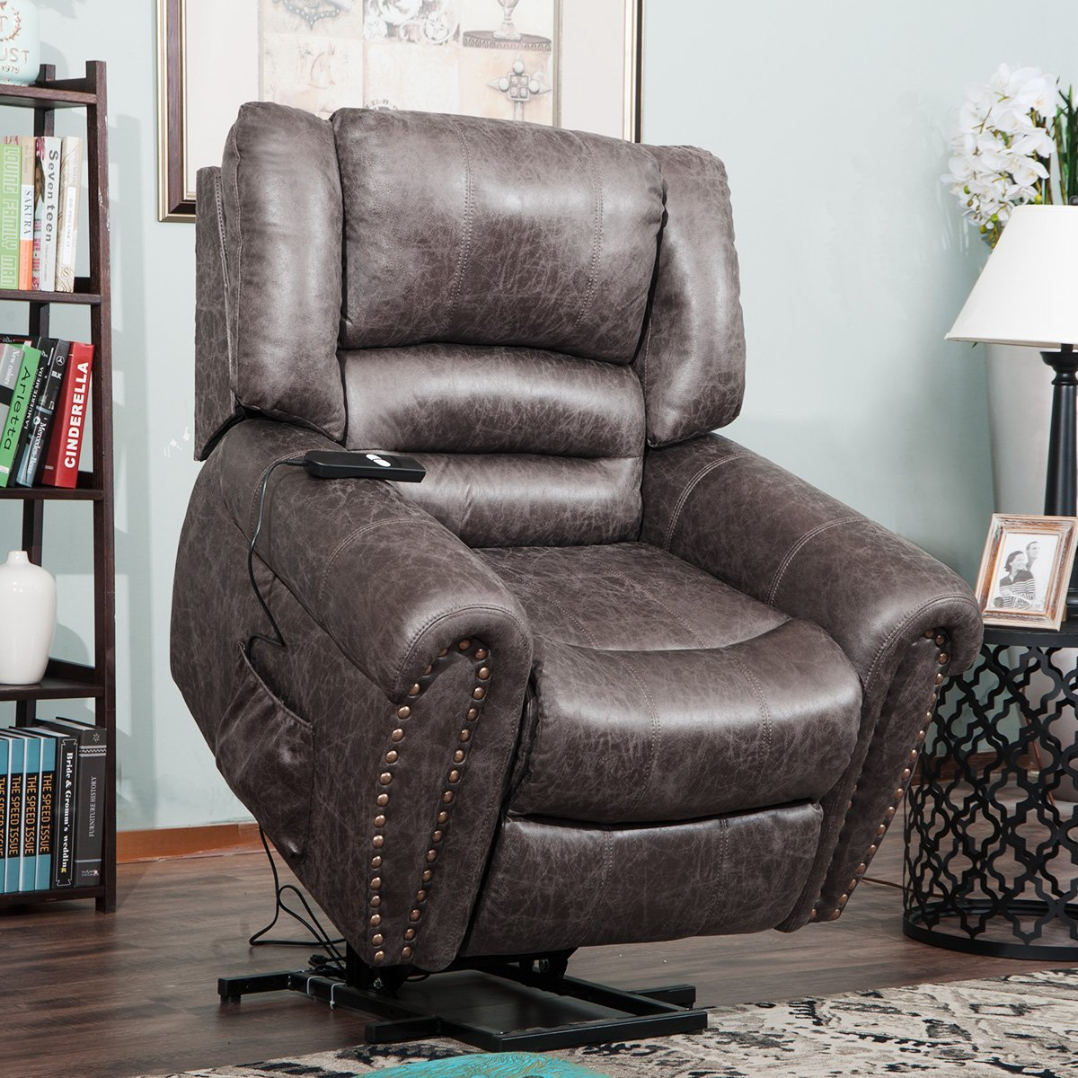 Harper&Bright Designs Smoky Brown Wilshire Series Heavy-Duty Power Lift Recliner Chair, Built-in Remote and 2 Castors, by Harper & Bright Designs