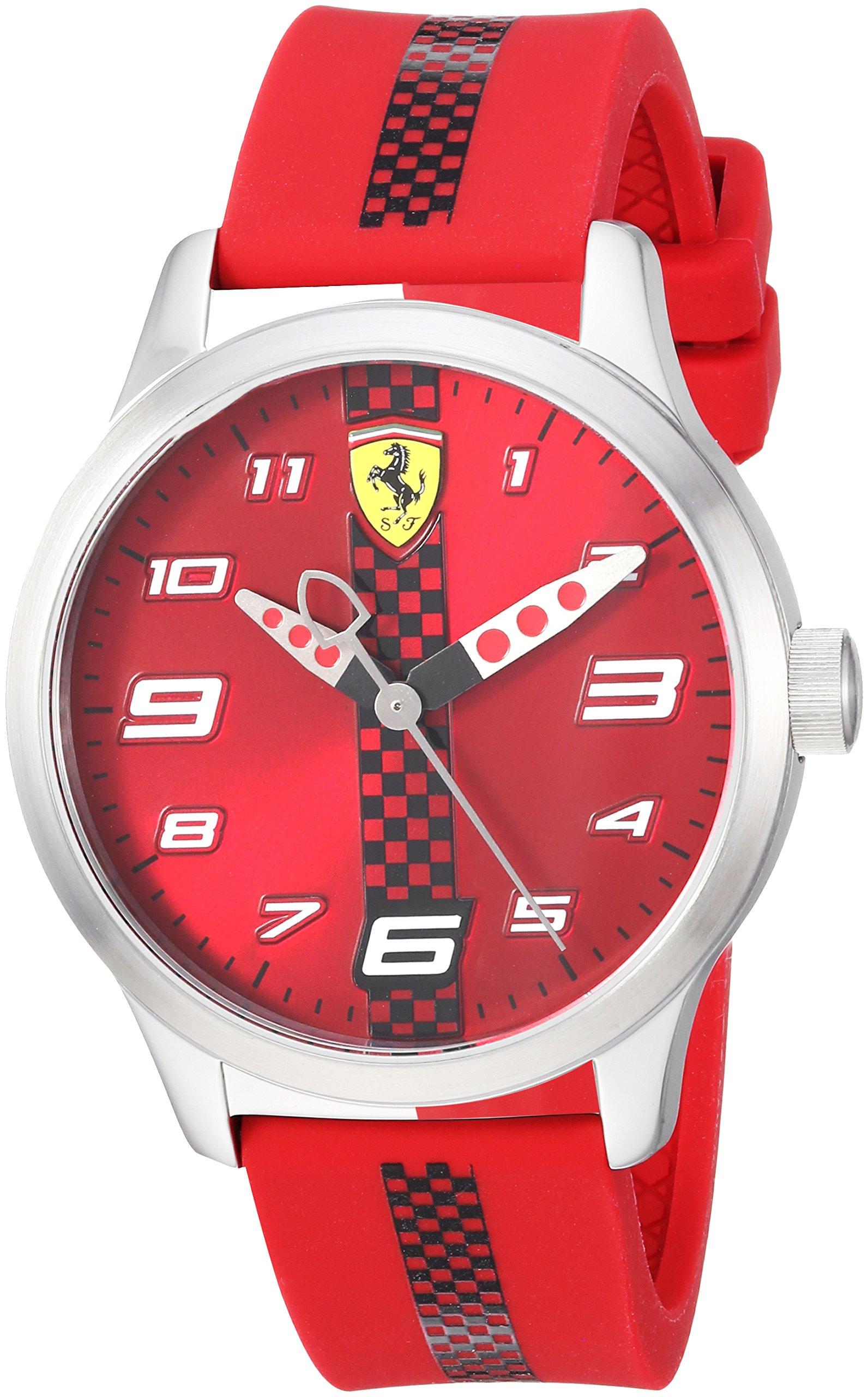 Ferrari Pitlane, Quartz Stainless Steel and Silicone Strap Casual Watch, Black, Boy, 860001 by Ferrari