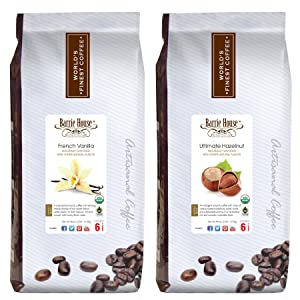 Barrie House Whole Bean Coffee Naturally Flavored, Fair Trade, USDA Certified Organic Bundled 5 lbs. Variety Pack: Ultimate Hazelnut / French Vanilla - 2 Packs of 2.5 lbs