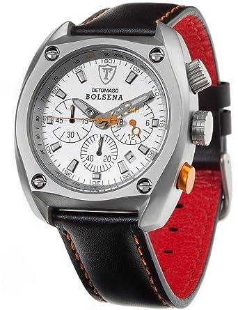 DeTomaso SL1552C-CH - Reloj de caballero de cuarzo, correa de piel color negro: Amazon.es: Relojes