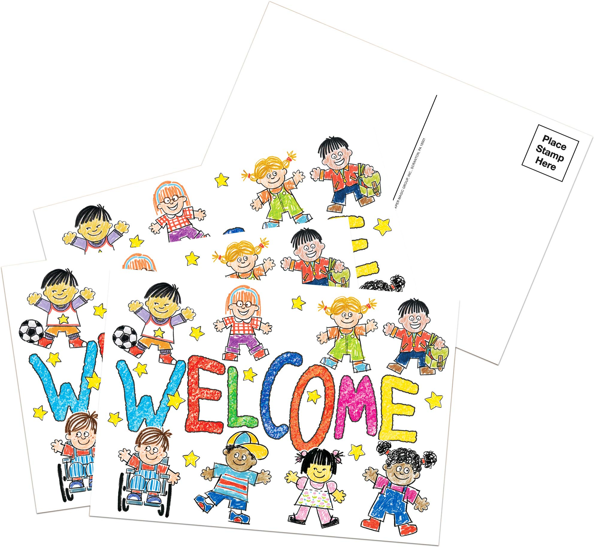 Eureka 'Welcome' Teacher Postcards for School Students, 36pc, 4'' W x 6'' L