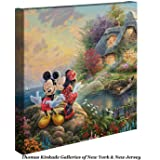 Thomas Kinkade Disney Mickey and Minnie Sweetheart Cove 14 x 14 Gallery Wrapped Canvas