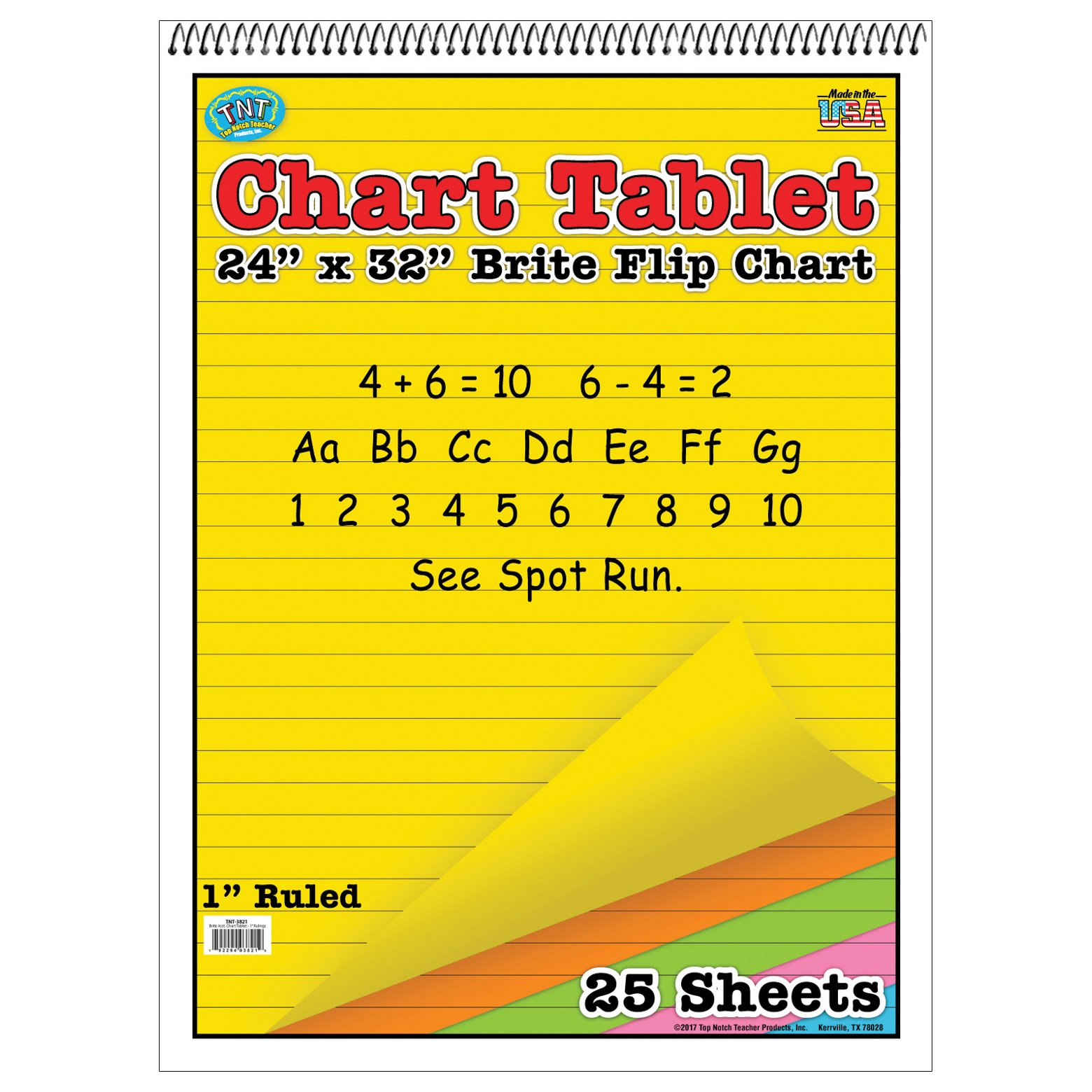 Top Notch Teaching TOP3821 Brite Chart Tablet, 1'' Ruled, Assorted Colors, 24'' Width, 32'' Length, 25 Sheets