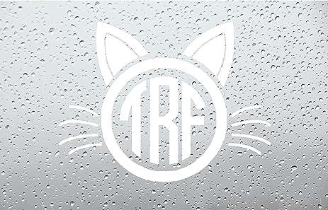 Amazoncom Cat Face Monogram Car DecalSticker INCH WHITE - Monogram car decal amazon