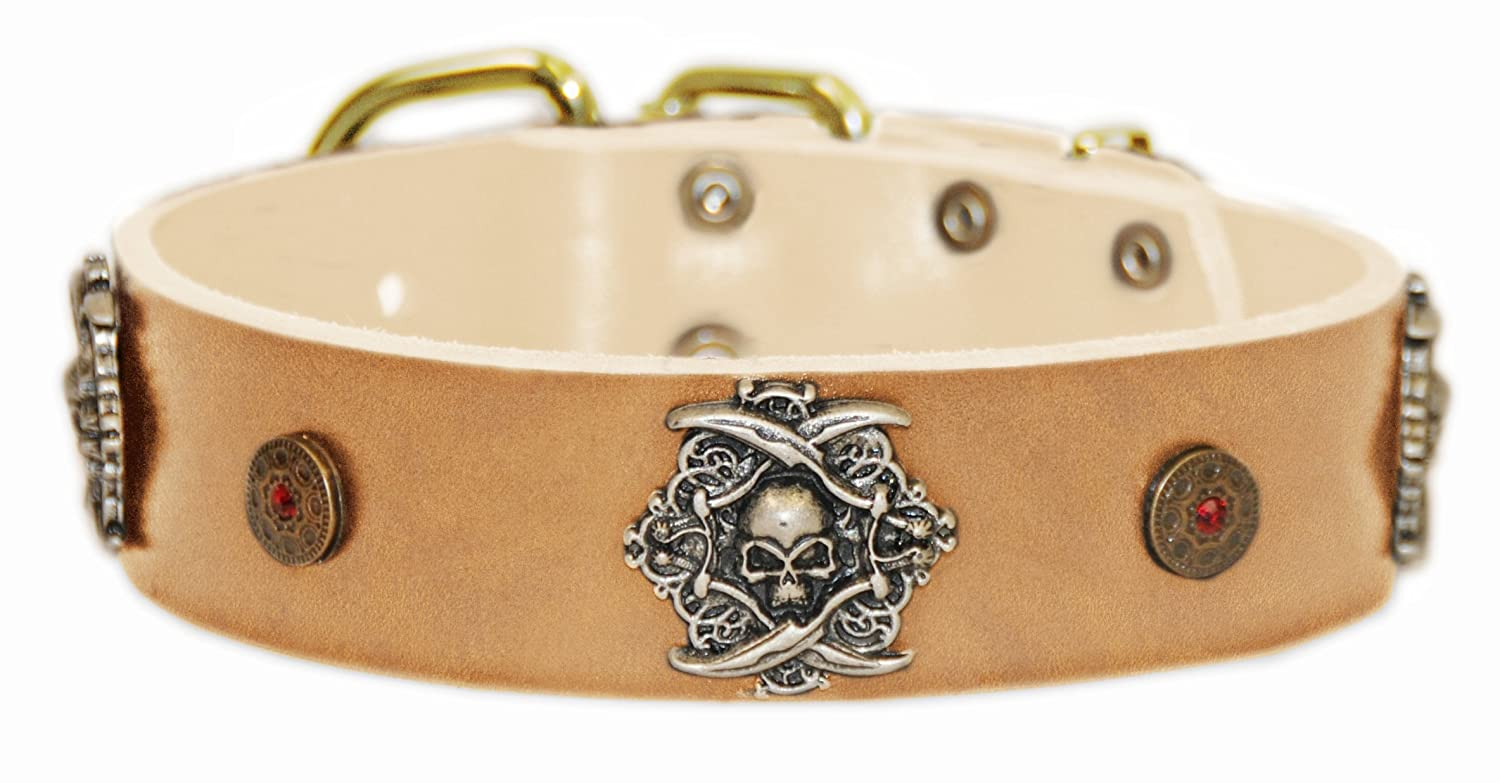 Dean and Tyler  THE PIRATE  Leather Dog Collar with Solid Brass Buckle Tan Size 56cm by 4cm Width. Fits Neck Size 20 Inches to 24 Inches.