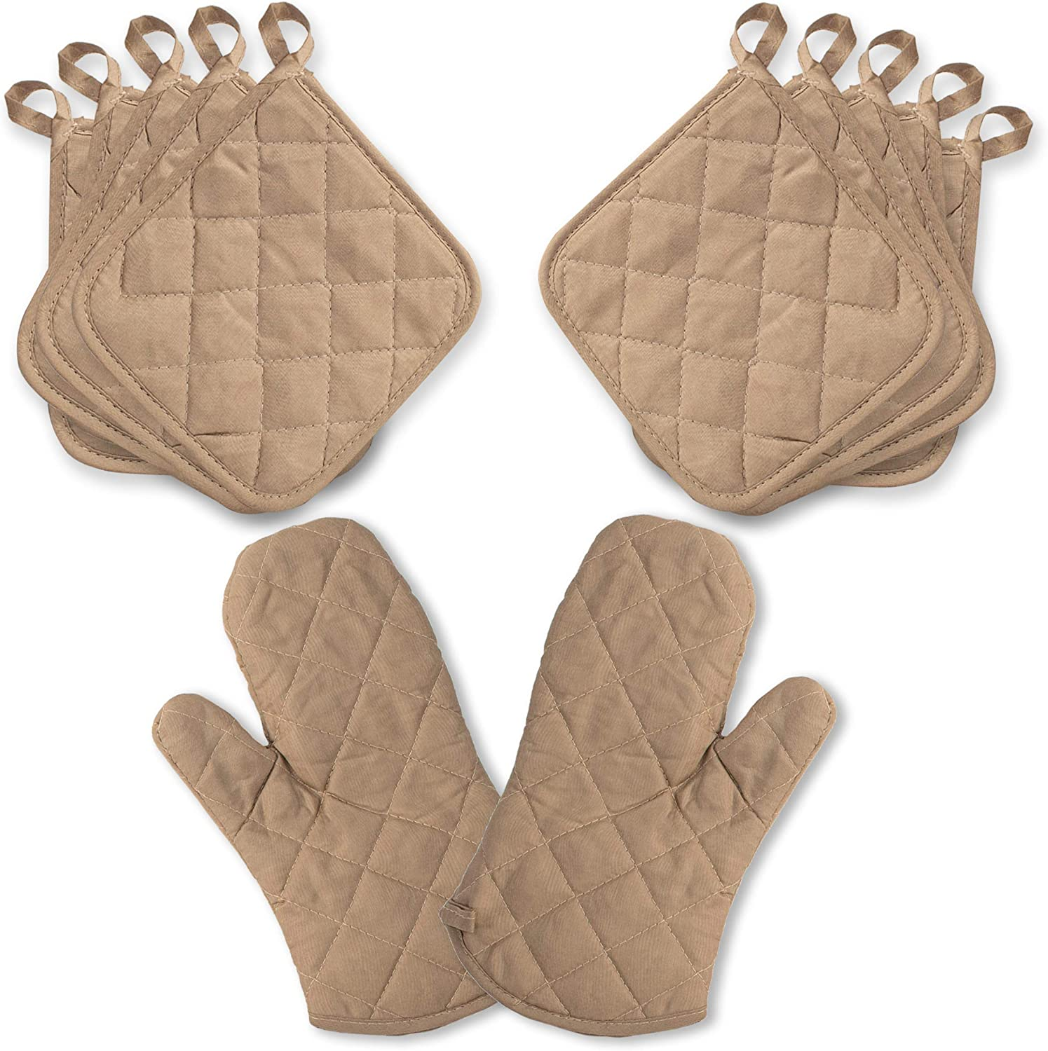 American Mills Pot Holders and Oven Mitts Set 12 Piece| 10 Cotton and Polyester Quilted Kitchen Pot Holders and Oven Mitts | Heat Resistant and Machine Washable (Beige)