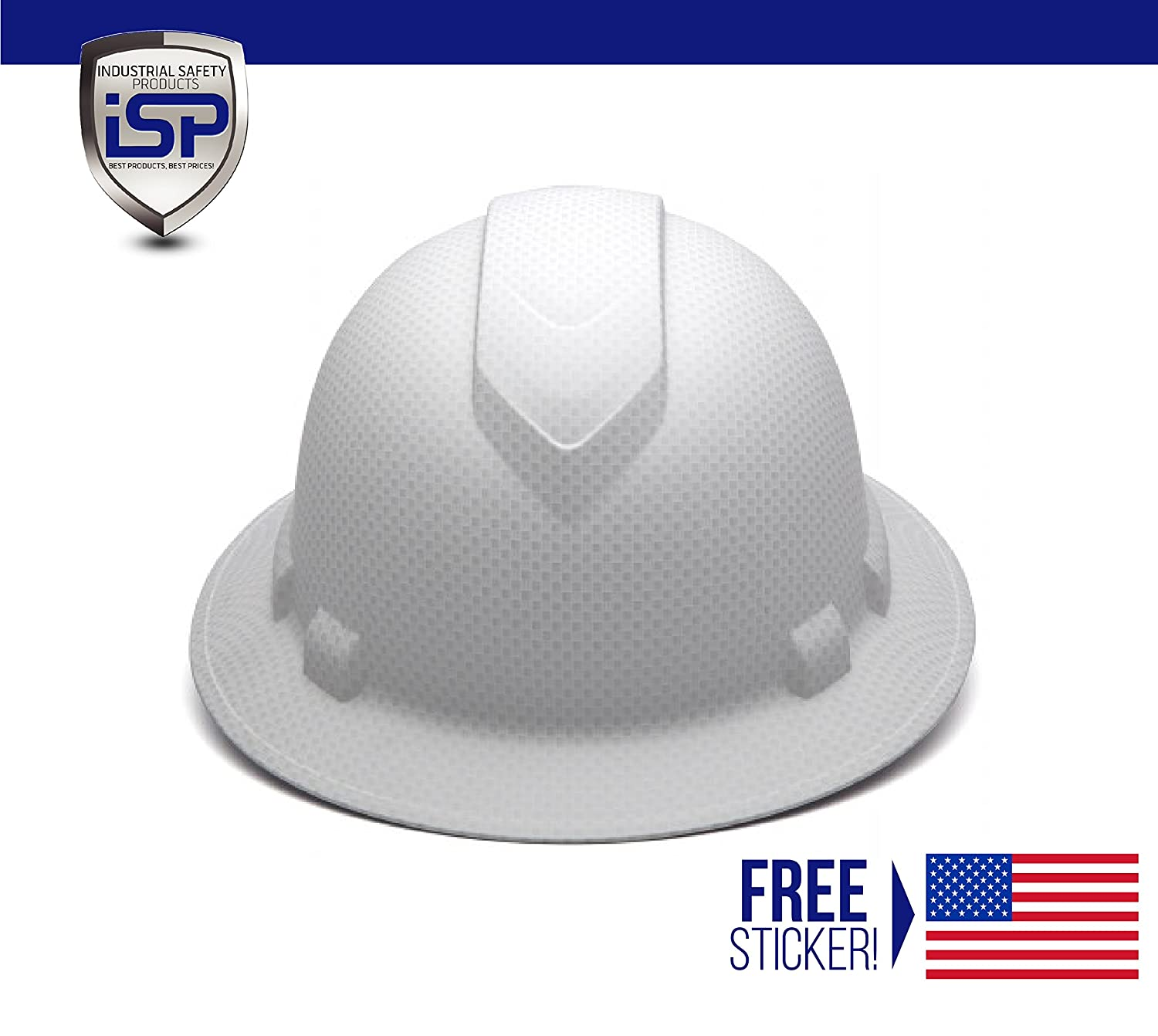 Pyramex Full Brim RIDGELINE Patterned Hard Hat with 6 Point Ratchet  Suspension - Free Sticker Included - - Amazon.com bb03116eddc