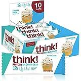 Protein & Fiber Bars by thinkThin - On The Go, Low Sugar, 10g Protein, 5g Fiber, Gluten Free, Non-GMO - Cupcake Batter…