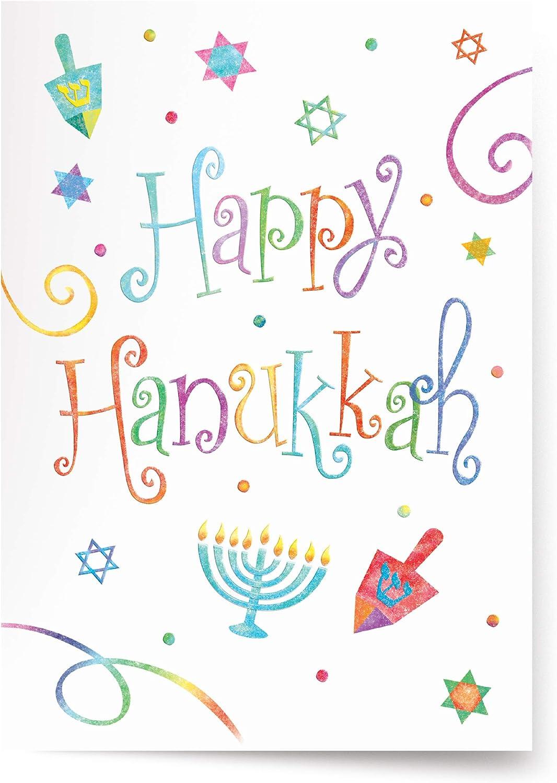 Happy Hanukkah Blue Stripes Card with Matching Embellished Envelope