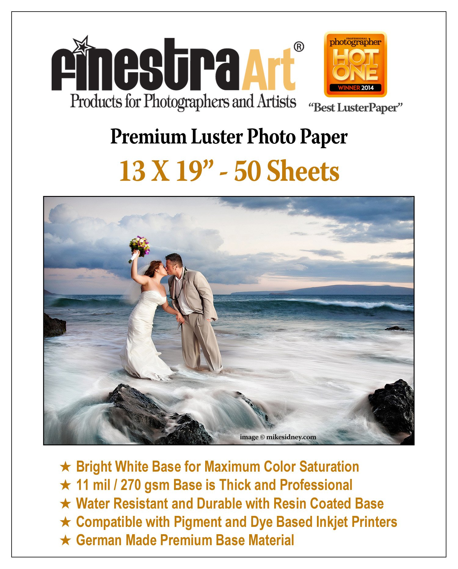 13'' X 19'' 50 Sheets Premium Luster Inkjet Photo Paper [Office Product] by Finestra Art