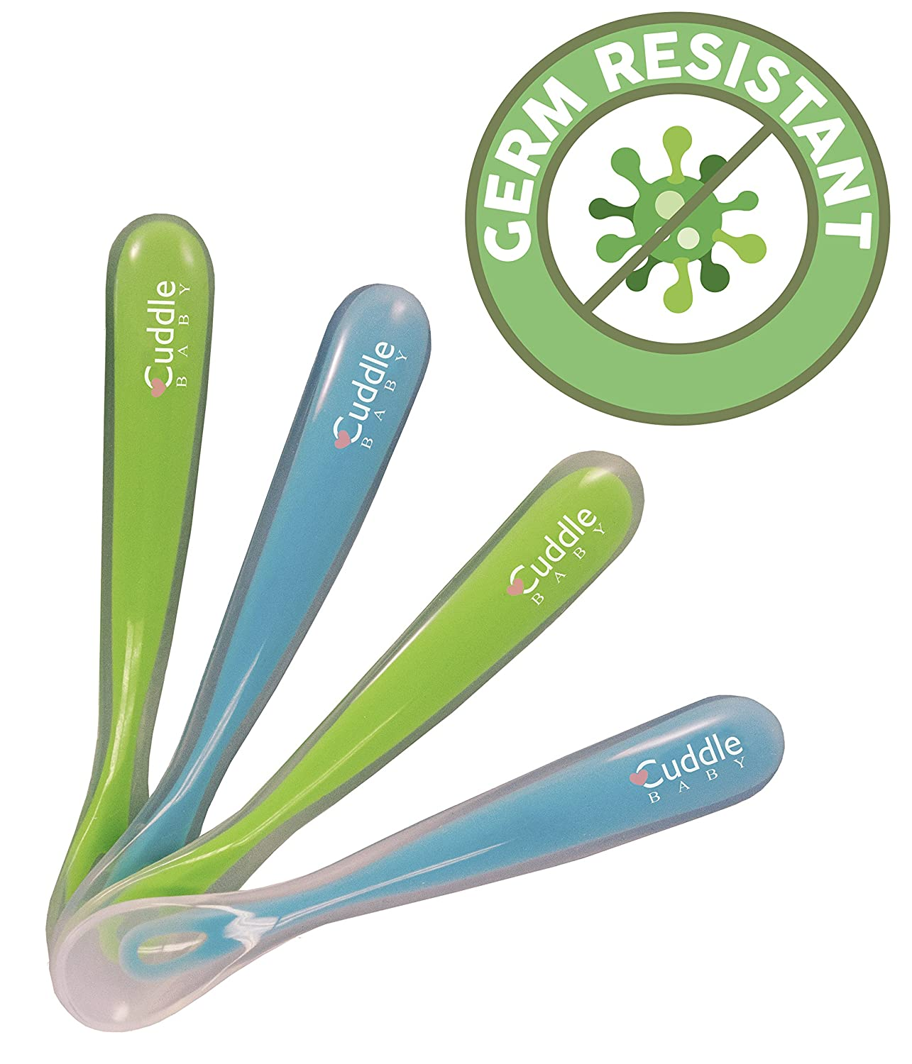 Cuddle Baby Gum-Friendly First Stage Soft Tip Silicone Feeding Spoons for Babies, Great Infant Gift Set (No BPA, lead, phthalate and plastic) Baby Blue/Green B01IPN8BPO