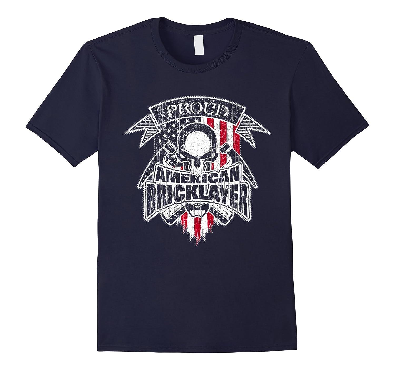 Bricklayer T-Shirt American Flag Skull and Mason Tools-TD