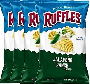 Ruffles Potato Chips Classic Hot Wings Flavored & Ruffles Jalapeno Ranch Potato Chips 8.5 Oz. Bag (Jalapeño ranch, 4)