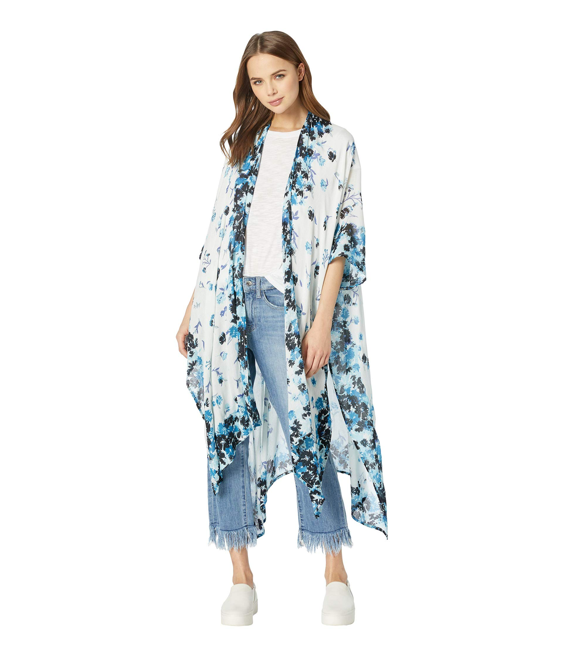 Michael Stars Women's Rose Ruana with Anise Floral Placed Print, poseidon multi One Size