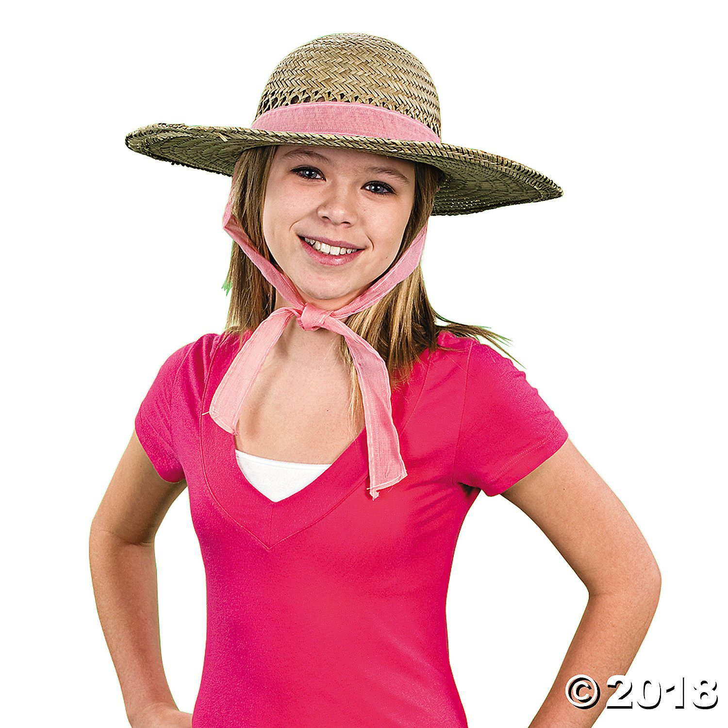 Straw Sun Hats With Solid Band (6 hats) [Toy]