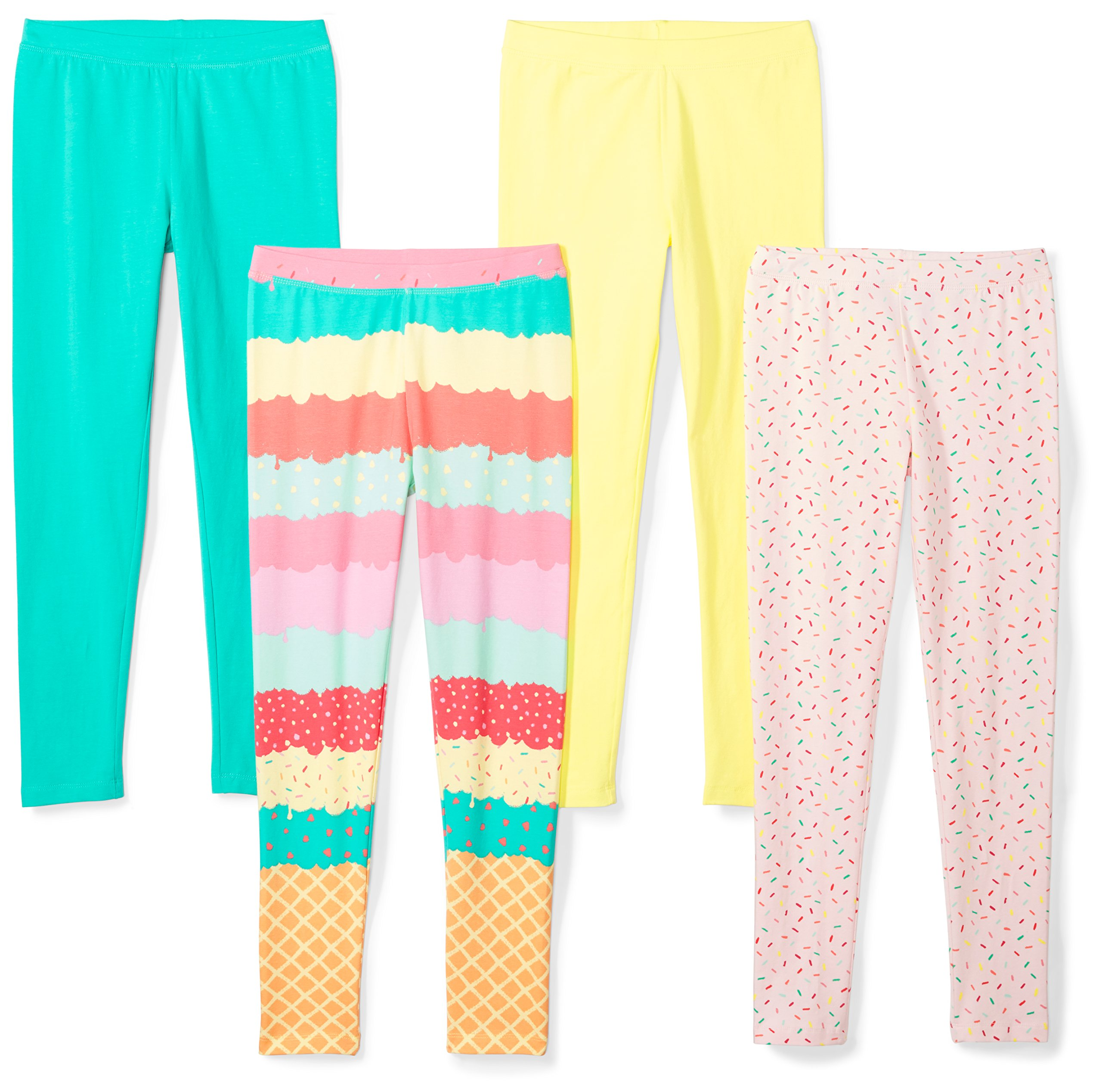 Spotted Zebra Girls' Little 4-Pack Leggings, Sweets, Small (6-7) by Spotted Zebra