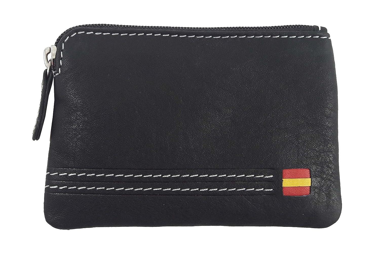 Monedero para hombre con monedero exterior de cremallera. Fabricado en piel. Color negro. 12056