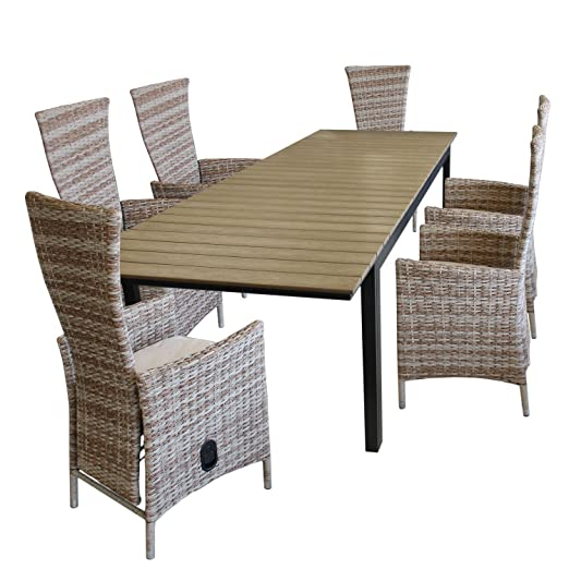 7 piezas. Juego de muebles de jardín mesa extensible, polywood ...