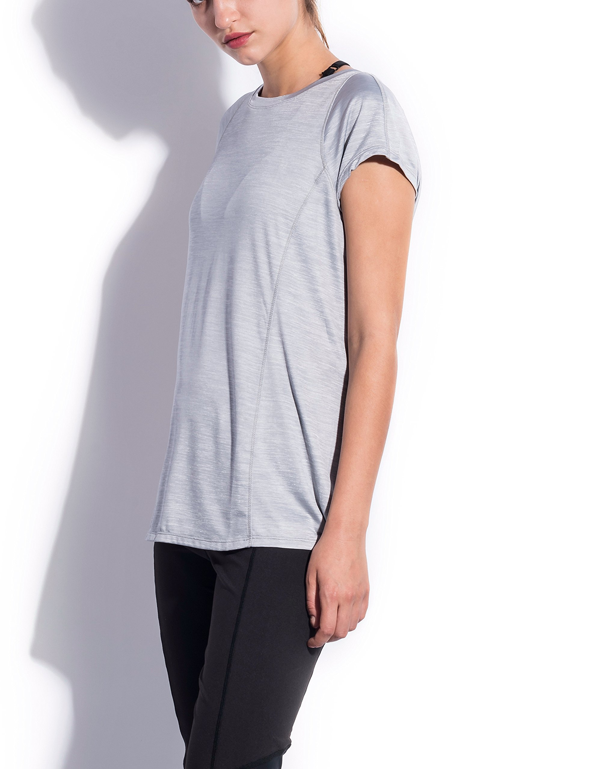SPECIALMAGIC Women\'s Athletic Short Sleeve Round Neck Yoga Shirt Loose Fit Workout Top Light Grey L