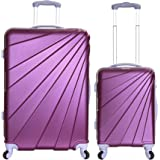 Slimbridge Fusion Set of 2 Super Lightweight 4 Wheels ABS Hard Shell Luggage Suitcase Travel Bags Trolley XL and Cabin Carry On, Plum