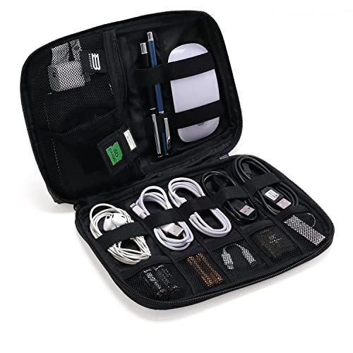 BAGSMART Small Travel Electronics Cable Organizer Bag for Hard Drives, Cables, USB Cable, SD Card (Black)