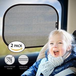 Pare-Soleil, Pare-Soleil de Voiture BEZ® pour Vitres Latérales et Arrières (Lot de 2) - Protecteur de Soleil pour Voiture - Protégez vos enfants et animaux sur la banquette arrière contre la réflexion du soleil et la chaleur