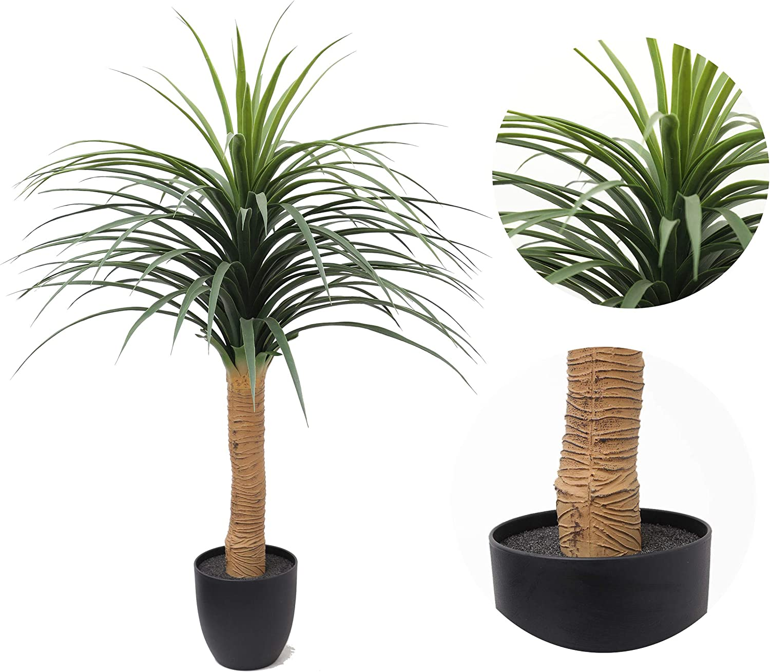 Artificial Yucca Plant,Fake Tree,Artificial Rubber Tree Plant,Artificial Palm Trees for Home Decor,Indoor and Outdoors,46inch
