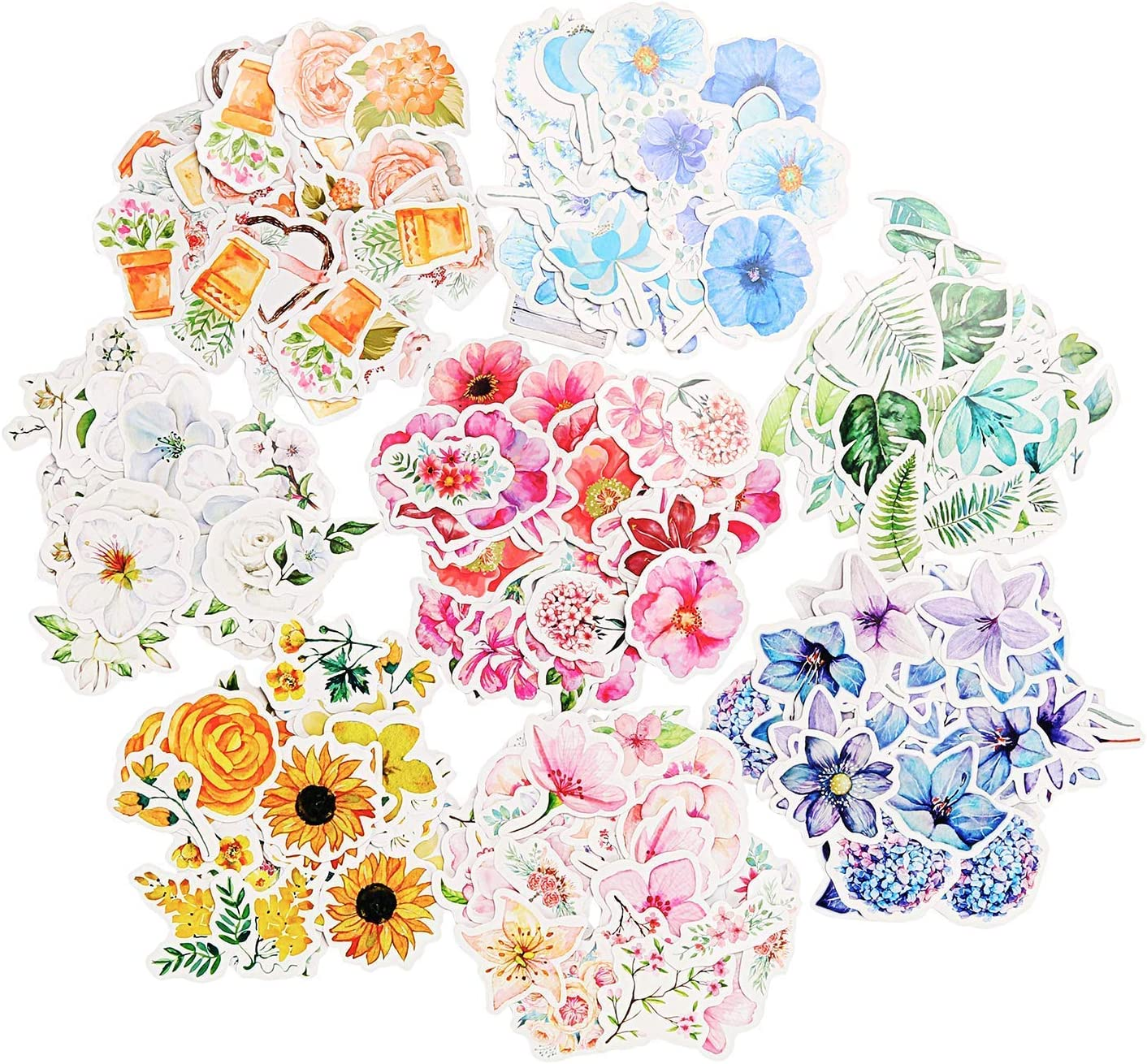 Pack of 45 Pink Flower Flowers stickers for crafts cardmaking scrapbooking