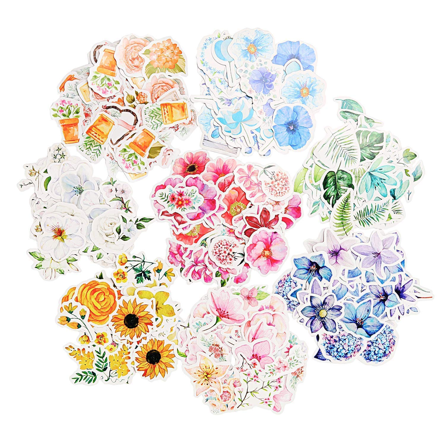 Molshine 360pcs Various Special Shaped Stickers-Flower Series Decals for Personalize Decoration,Laptops,Skateboards,Luggage,Cars,Bumpers,Bikes,Bicycles,Books