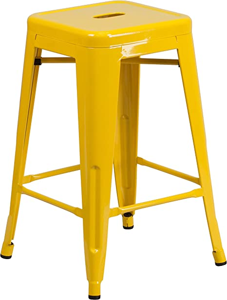 Flash Furniture Commercial Grade 4 Pack 24 High Yellow Metal Indoor-Outdoor Counter Height Stool with Removable Back