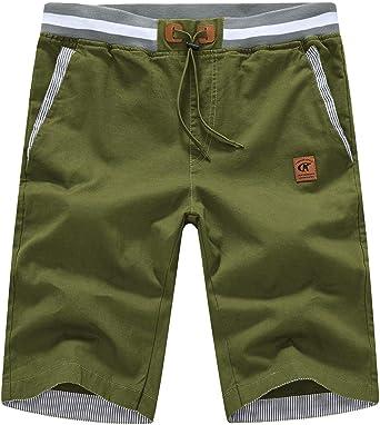 Mens Shorts Casual Classic Fit Drawstring Chino Shorts with Elastic Waist