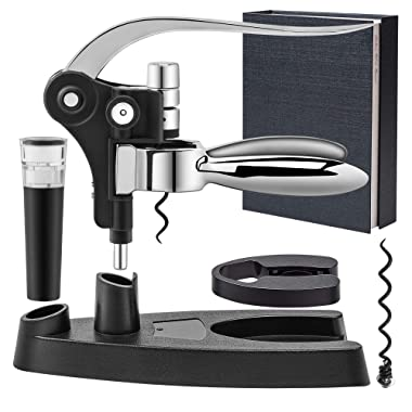 Wine Opener Screwpull Lever Rabbit Corkscrew Stylish Wine Accessory Gift Box Set with foil cutter extra spiral worm and vacuum pump&stopper