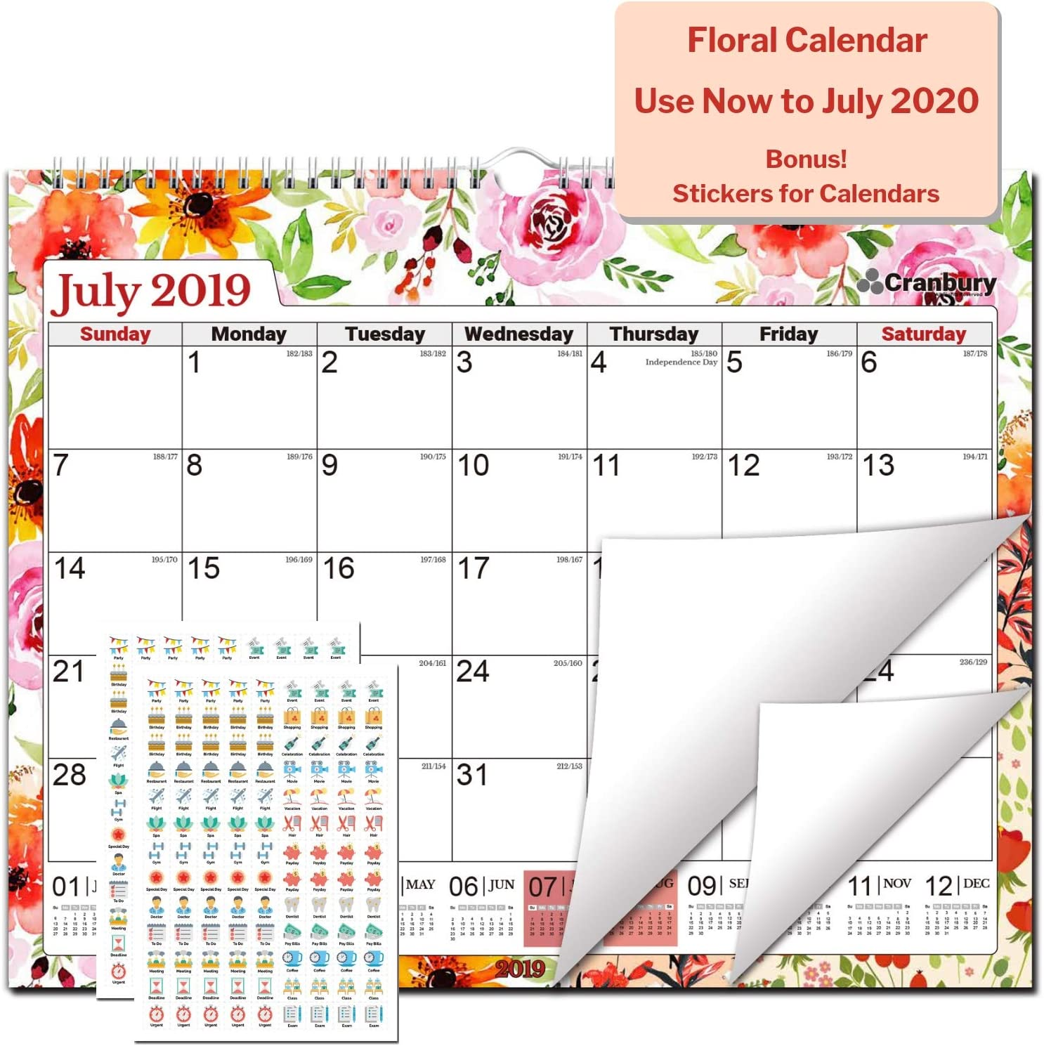 School Year Wall Calendar 2019-2020 (Floral) 15x12, Use Through July 2020, Monthly Large Wall Calendar, Big Hanging Academic Calendar, with Stickers for Monthly Wall Calendar 2019