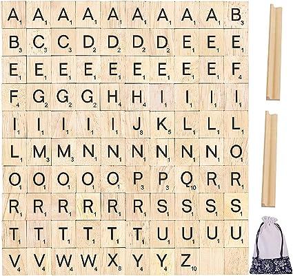 Pinowu Alfabeto de Madera Azulejos de Letras (100pcs) para Juegos de Mesa Marco de Boda de Pared Scrapbooking con bastidores de Madera (2pcs) y Bolsa de Regalo de Tela: Amazon.es: Hogar