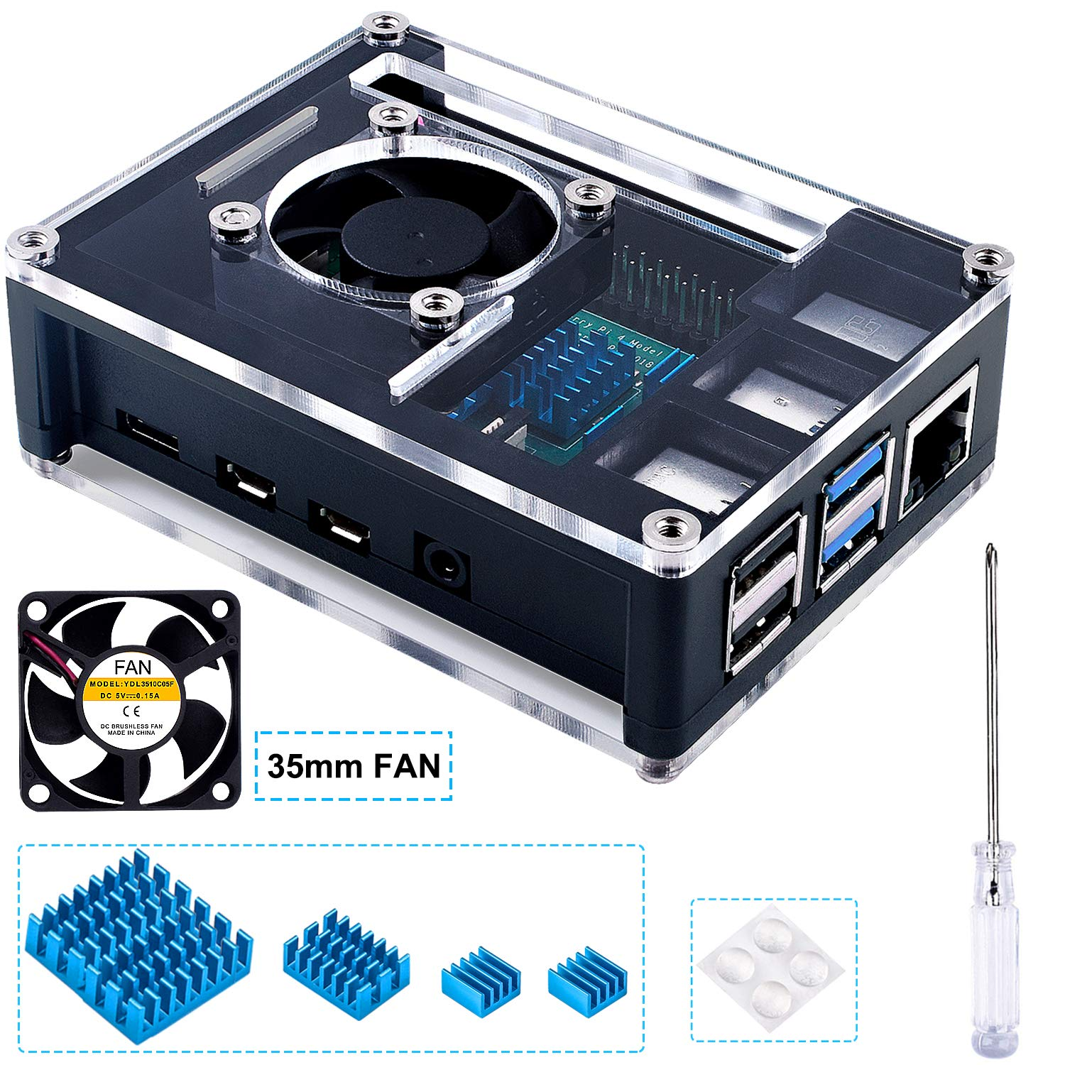 Miuzei Case for Raspberry Pi 4 with 5V DC Cooling Fan, 4 Pcs Heat Sinks for Raspberry Pi 4 Model B