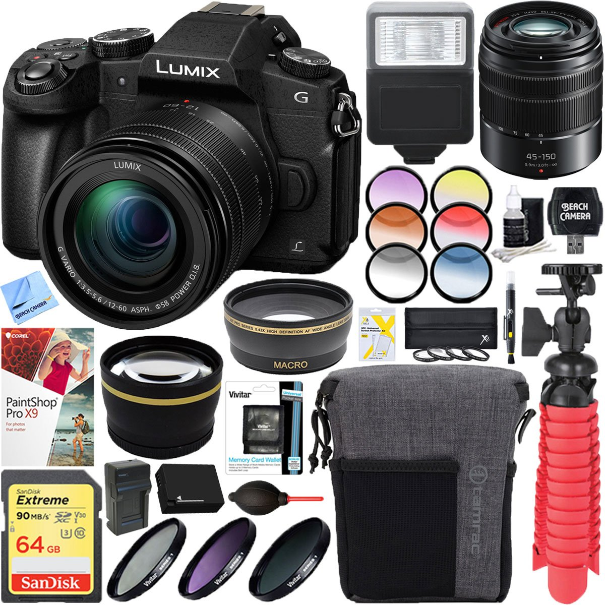 Panasonic LUMIX G85 Mirrorless Interchangeable Lens Digital Camera with 12-60mm & 45-150mm Lens Accessory Bundle