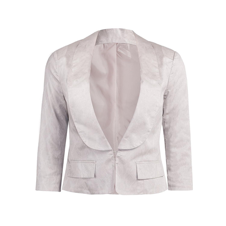 Nuevo para mujer cuello esmoquin recortada cena chaqueta ...