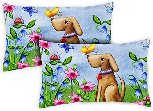 Toland Home Garden 731213 Welcome Dog 12 x 19 Inch Outdoor, Pillow with Insert 2-Pack