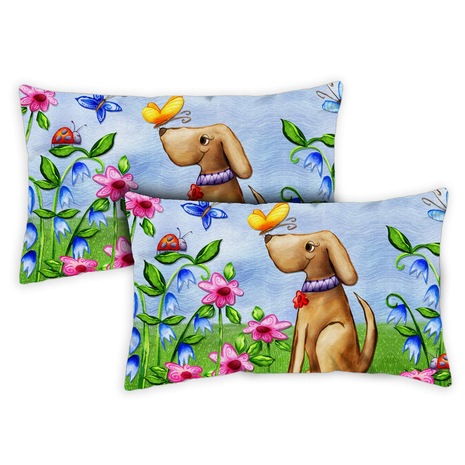 Toland Home Garden 731213 Welcome Dog 12 x 19 Inch Outdoor, Pillow, Insert 2-Pack
