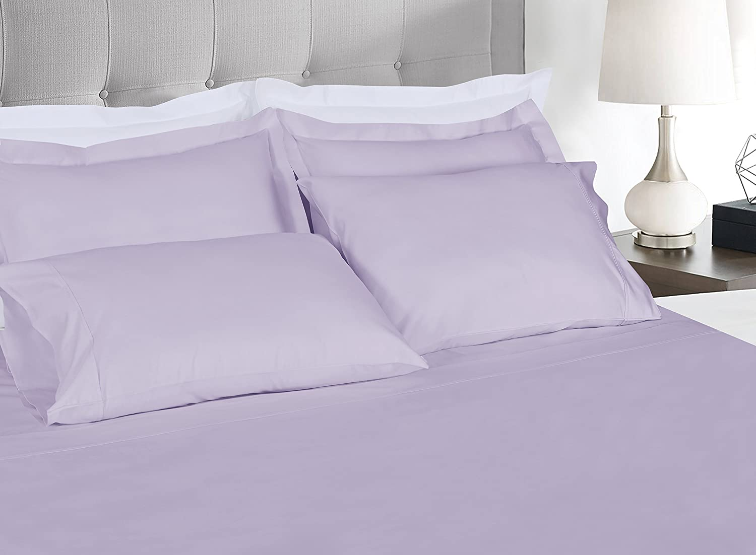 Threadmill Home Linen 300 Thread Count Bedding Collection 100% Long Staple Cotton Solid Sateen Sheet Set, Luxury Bedding, 4 Piece Set, Bed Sheets, Smooth Sateen Weave, Queen, Lilac