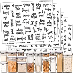 Talented Kitchen 375 Script Pantry Labels – Medium Size Labels Set – Food Label Sticker, Water Resistant. Preprinted Stickers Decals Jars Pantry Organization Storage (Set of 375 –Medium Script Pantry)